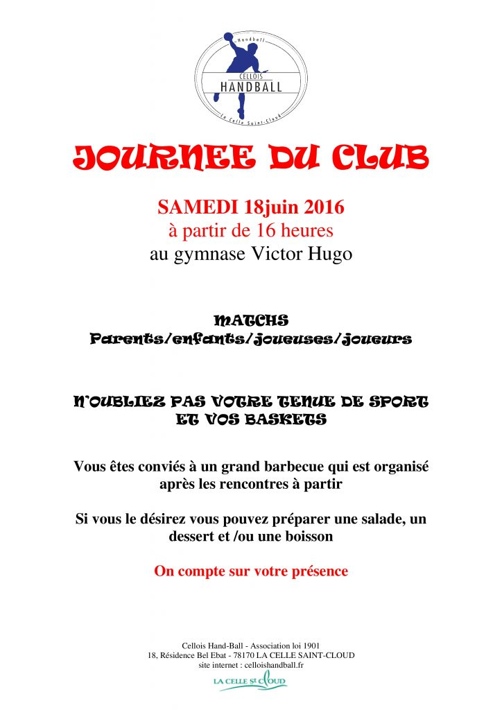 AFFICHE JOURNEE DU CLUB 18 06 2016
